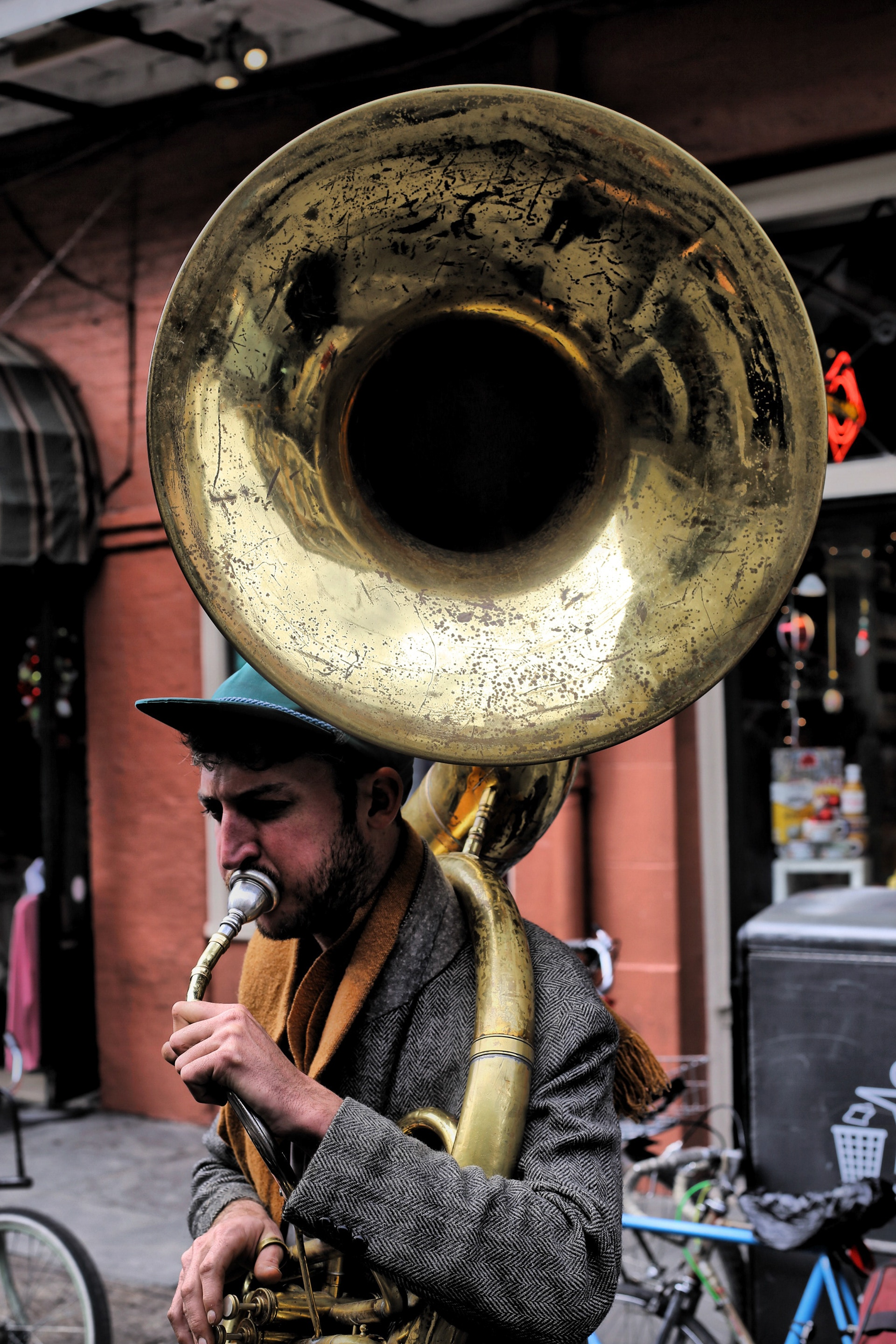 A man playing a brass instrument.